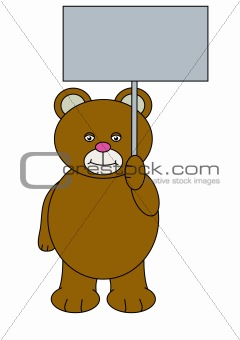 Teddy bear holding sign
