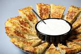 Spanish tortilla with garlic dip