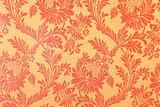 pattern with gold abstract flowers on a red background