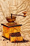 coffee mill and beans in grunge style