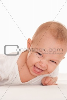 happy baby on a white