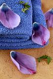 lilac purple towels and flower petals spa concept