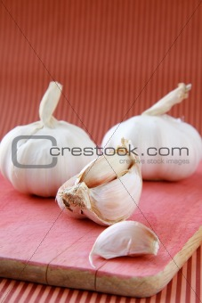 cutting garlic close up shoot on a red background