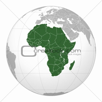Africa map on world globe