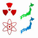 Japan map and radioactive signs