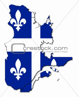 Quebec flag on map