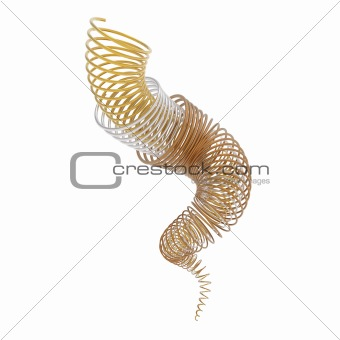 Gold, silver and bronze spirals isolated on white in 3d.