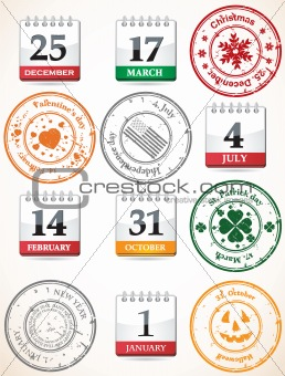 set of stamps and calendars