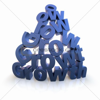Growth pyramid in blue over white background