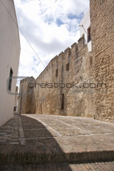 castle wall street at Vejer village