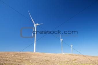 three wind power mills