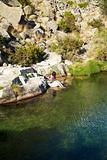 woman in a lake at Gredos