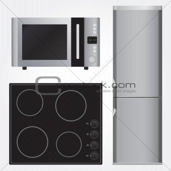 Ceramic Stove, Refrigerator And Microwave