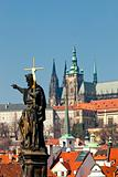 prague - religious art on charles bridge and hradcany castle 