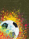 Splash grunge background with a soccer ball. EPS 8