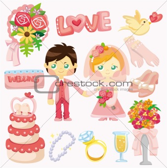 cartoon wedding set icon