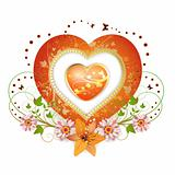 Floral frame with shape heart