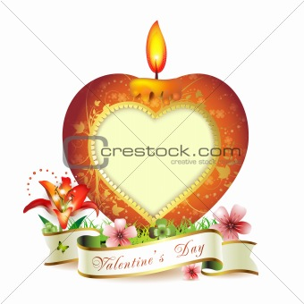 Candle with heart shape