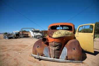 crashed car in the desert