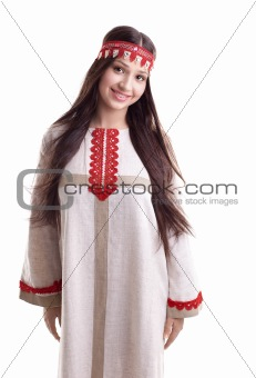 Young girl in dance pose and smile - flax cloth