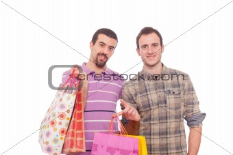 Young Homosexual Couple with Shopping Bags