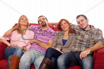 Four Boys and Girls Relaxing on Sofa