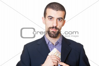 Corrupted Business Man Hiding Banknote