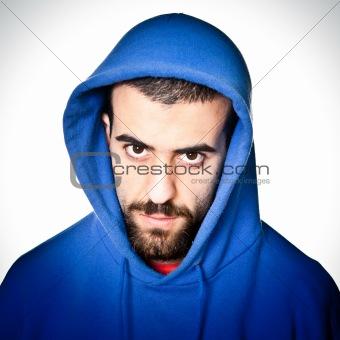 Young Aggressive Man Portrait on White