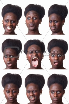 Beautiful Black Woman Portrait, Multiple Image