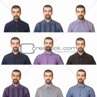 Collection of Portraits, Man Wearing Different Shirts