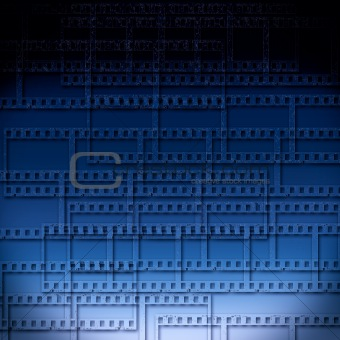 blue abstract background with filmstrips