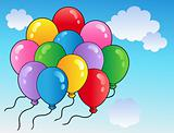 Blue sky with cartoon balloons 2