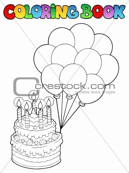 Coloring book with birthday cake 1
