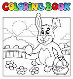 Coloring book with bunny and eggs