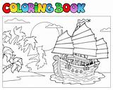 Coloring book with Chinese ship