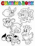 Coloring book with happy pets 1