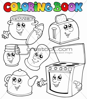 Coloring book with kitchen cartoons