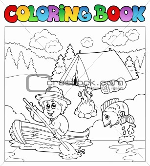 Coloring book with scout in boat