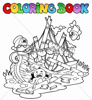 Coloring book with shipwreck