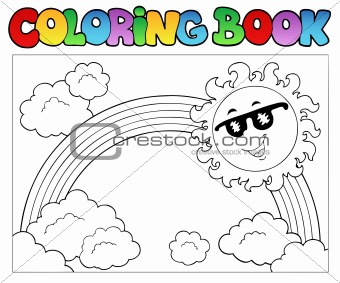 Coloring book with Sun and rainbow