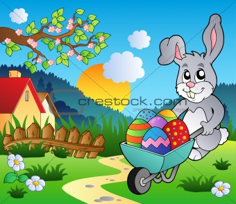 Meadow with bunny and wheelbarrow