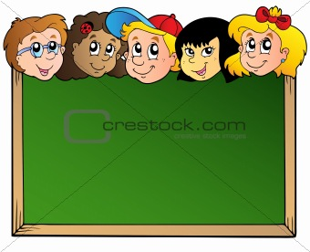 School board with children faces