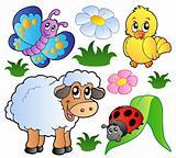 Various happy spring animals