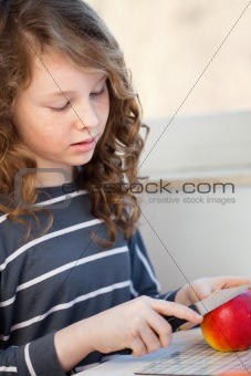 Teen girl with apple
