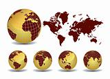 Earth globes with world map