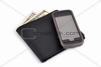 touchscreen mobile phone and dollars