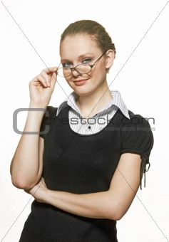 portrait of young woman with spectacles