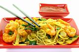 noodles with Asian prawns