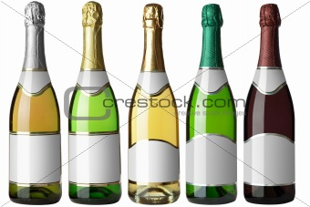 Set 5 bottles with white labels