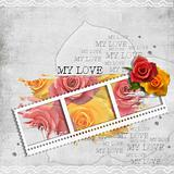 retro background with stamp-frame and pastel rose 
